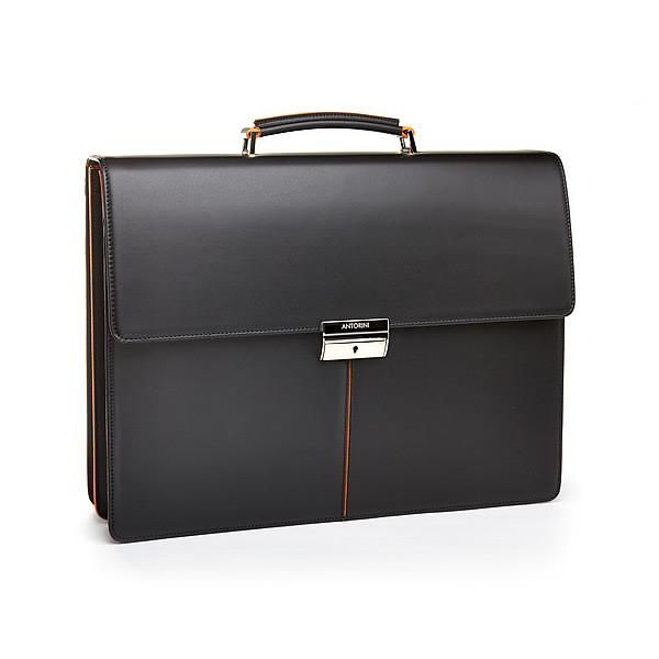 Executive Leather Briefcase, black / orange