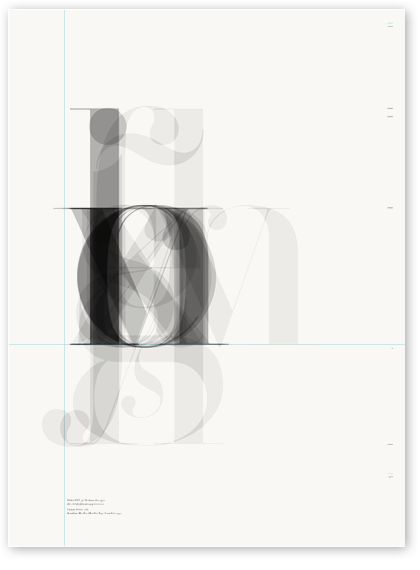 Didot archetype poster by Tipos Graficos. The designer stacked semi-transparent lowercase letters. Architectural and beautiful.