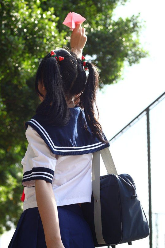 ○•SCHOOL GiRL~•○ school uniform - - seifuku - - sailor uniform - - twin tails - - school bag - - paper airplane - - cute - - kawaii