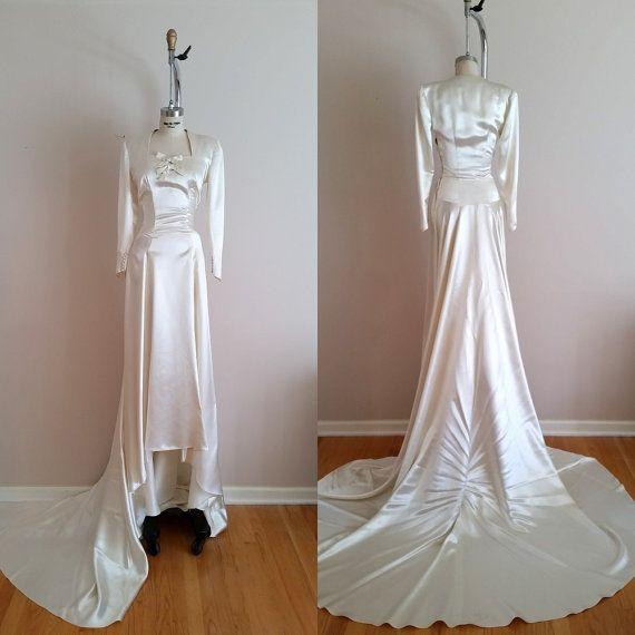 Vintage 1930s Silk Satin Wedding Dress / 30s Wedding Dress / Ivory / Long Sleeves / Petite Wedding Dress / XXS