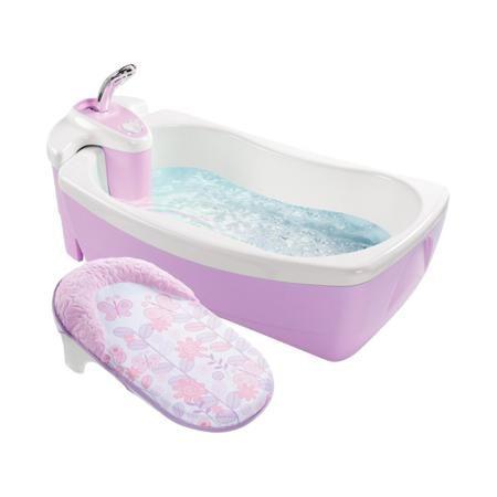 """Summer Infant Детская ванна с душевым краном Lil' Luxuries  — 8650р.  Детская ванна с душевым краном """"Lil' Luxuries"""" сиреневогоцвета марки Summer Infant для девочек. Ванна оснащенна специальным моторчиком для создания пузыриков, который работает от батареек (в комплект не входят). Для удобства есть съемный блок с душем.Двойные стенки поддерживают температуру воды. Модель дополнена эргономичнаой никелевой душевой ручкой. Рекомендовано для детей от 0 месяцев. Размеры:25х46х73 см. Вес: 5,8…"""