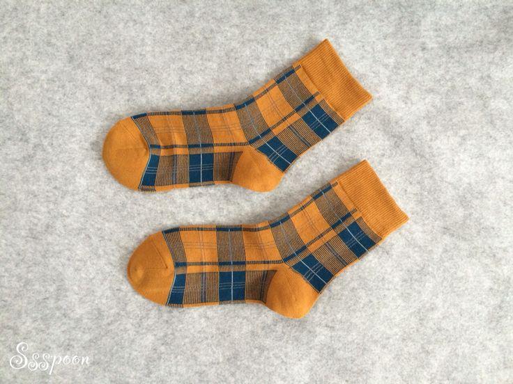 Mustard yellow check pattern socks!!