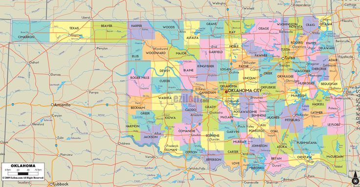 Map Of State Of Oklahoma With Outline Of The State Cities