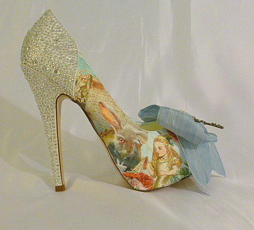Alice in Wonderland theme wedding shoes ..  by TessHarrissDesigns, $455.00