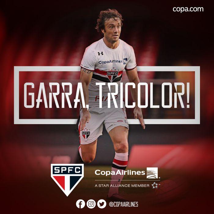 Copa Airlines - Facebook:  Vamos apoiar o Tricolor fora de casa em busca da vitória. Vamos, São Paulo! #CopaÉTricolor #IssoÉSaoPaulo São Paulo FC