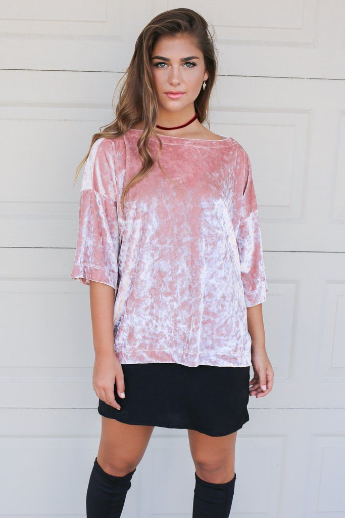 Material is Polyester and Spandex Made in the USA Not Lined Pink, velvet top Model Addi is 5'6 wearing size small  Bust Length Small 24.5 25 Medium 25.5 26  Lar
