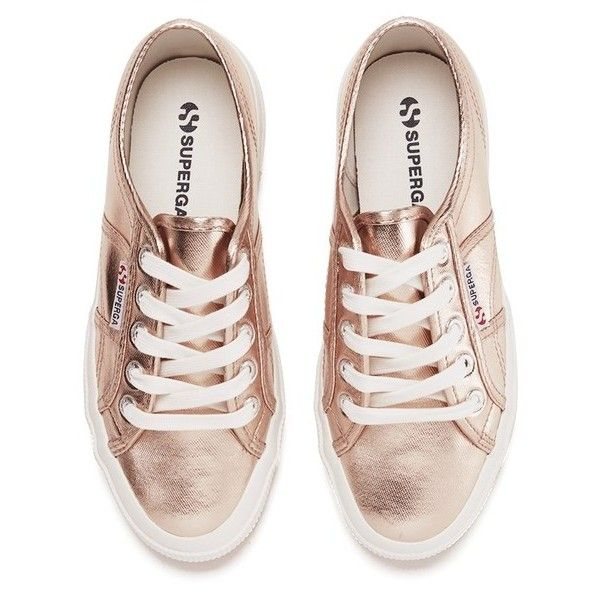 Superga Women's 2750 Cotmetu Trainers - Rose Gold (€60) ❤ liked on Polyvore featuring shoes, sneakers, white trainers, white sneakers, rose gold metallic shoes, woven sneakers and white shoes