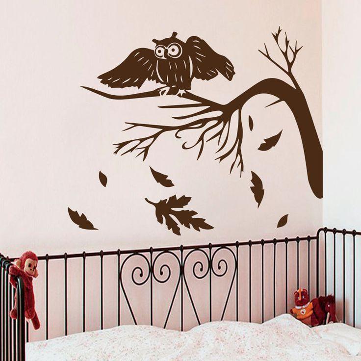 Herbst Baum Blätter Fallen Wandtattoos Eulen Nacht Vogel Wohnzimmer Babys Dekoration Vinyl Wandaufkleber Kunst(China (Mainland))
