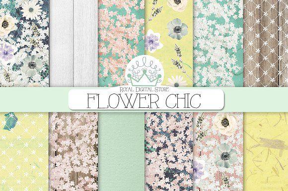 FLORAL shabby chic digital paper by RoyalDigitalStore on @creativemarket  #floral #shabbychic #planner #flower #mint #texture