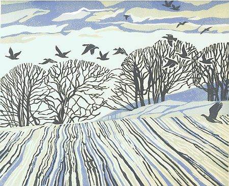 Pinkfeet's Cinder Sky  Max Angus, Tasmanian Artist Printmaker, Linocut - birds and trees