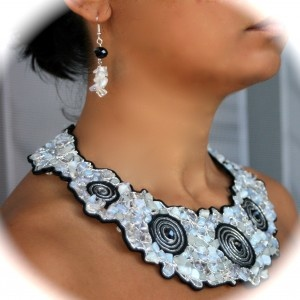 soutache jewelry, with moonstone and cristals, handmade