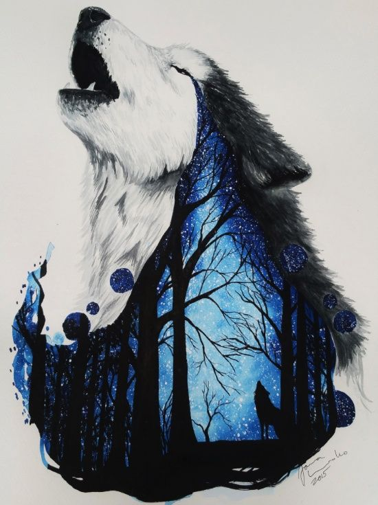 Missing you Art Print by Jonna Lamminaho combines howling wolf with a starry night in the forest