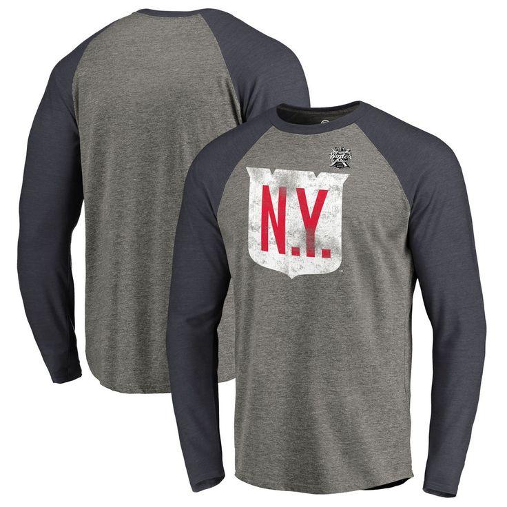 Men's New York Rangers Fanatics Branded Heather Gray 2018 NHL Winter Classic Vintage Tri-Blend Long Sleeve Raglan T-Shirt