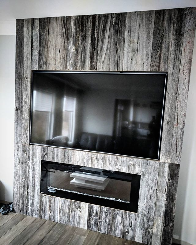 Modern Look Feature Wall Done Using Our Reclaimed Classic Grey Barn Board Looks Very Nice With I Set Tv And Electri Fireplace Tv Wall Feature Wall Barn Beams