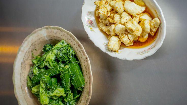 Fromage en grains mariné et pickle rapide