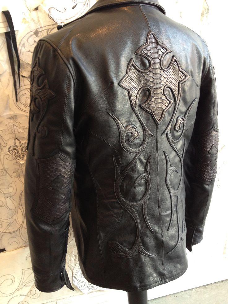 Leather Blazer cross star motif. By Logan Riese