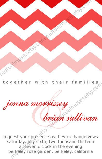 Chevron Wedding Invitation Suite - PDF  $40.  Hipster.  Pink.  Trending.  Trendy.  Zig Zag.  Red.