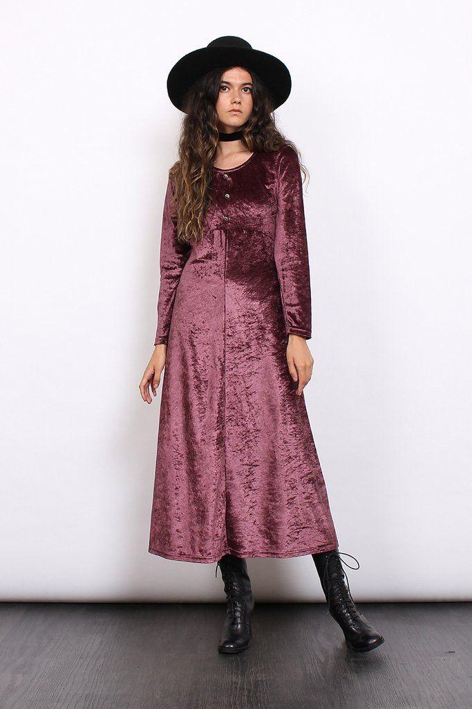 Vintage 90s Mulberry Crushed Velvet Grunge Maxi Dress