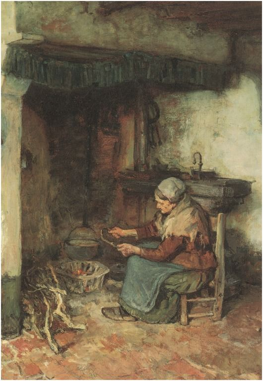 Een binnenhuis in de Kempen, detail van 'n schilderij door A.Briet 1895