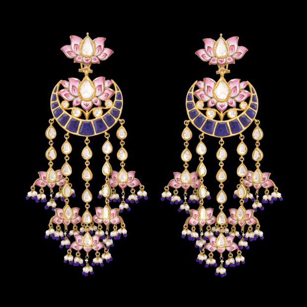 Chandbala style shoulder-dusters by Sunita Shekhawat with pinkenamel