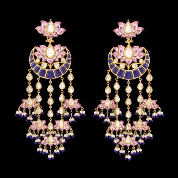Chandbala style shoulder-dusters by Sunita Shekhawat with pink enamel