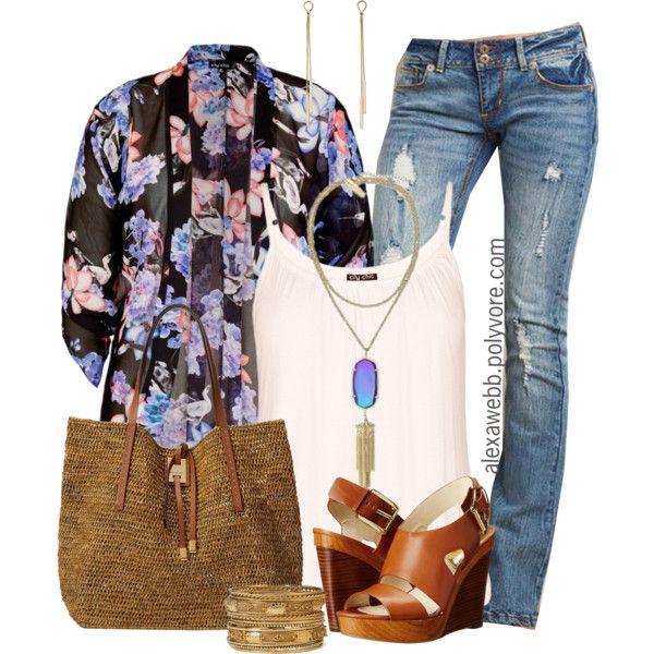 e4f9dfef492b1 Plus Size Fashion - Spring Kimono by alexawebb on Polyvore  plus  size   plussize  outfit  alexawebb  alexandrawebb