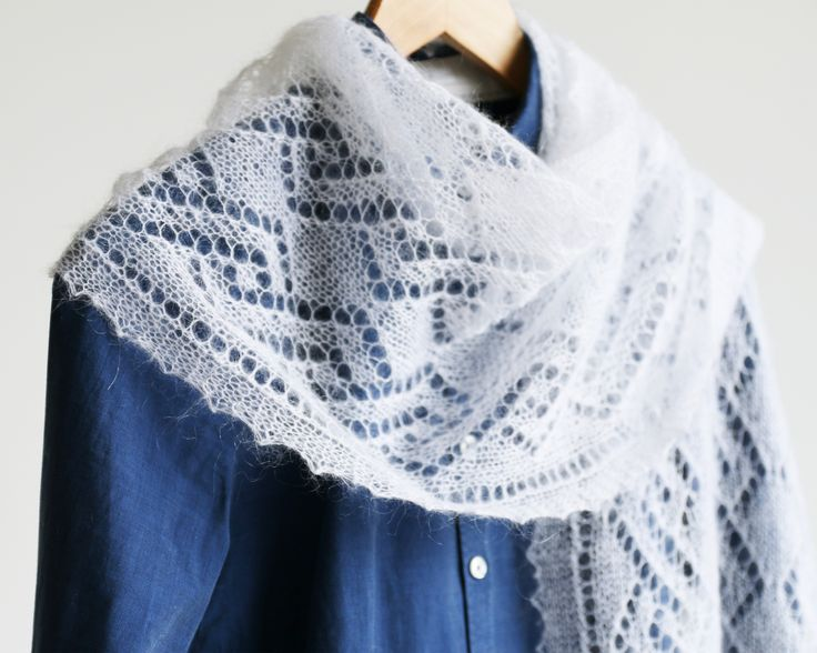 Thin Hand Knitted Lace Mohair Shawl with Twisting Pattern