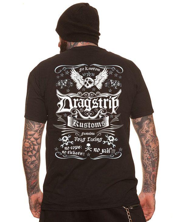 Dragstrip Tshirt hot rod apparel 13 tattoo biker rockabilly shirt  Psychobilly Tshirt Hot Rod Skull Kustom