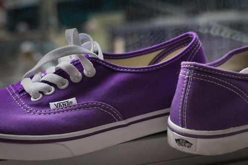 cute purple Vans - how could anyone be anything but happy when wearing purple shoes?