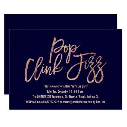 Pop clink fizz script navy blue New Years Eve Card - elegant gifts gift ideas custom presents