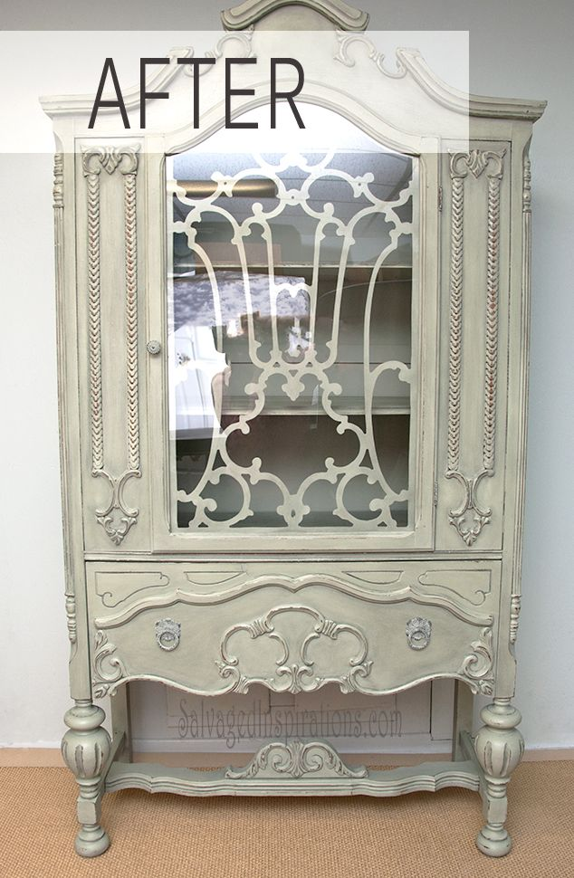 SalvagedInspirations.com ~ Homemade Chalk Painted China Cabinet