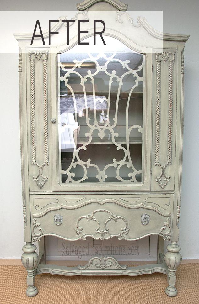 SalvagedInspirations.com ~ Homemade Chalk Painted China Cabinet