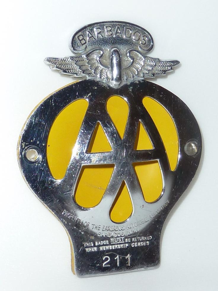 rare old barbados automobile association car badge number 211 not can. Black Bedroom Furniture Sets. Home Design Ideas