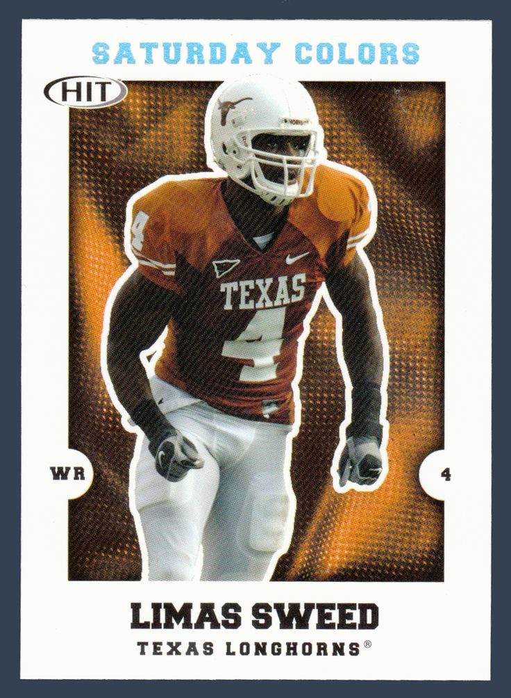 Limas Sweed # S 11 - 2008 Sage Hit Football - Saturday Colors