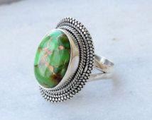 Groene koper Turquoise ring stenen ring, zilveren ring, 925 sterling zilver, Boheemse Ring, Boho, Native Ring, grootte U.S. 5 6 7 8 9 10