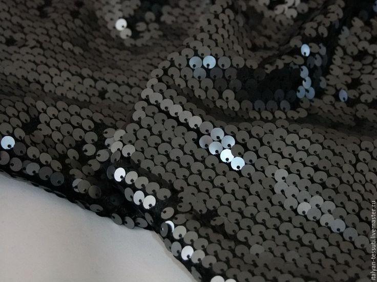 Купить D&G пайетки на бархате трикотаж, Италия - комбинированный, итальянские ткани, вышивка на сетке