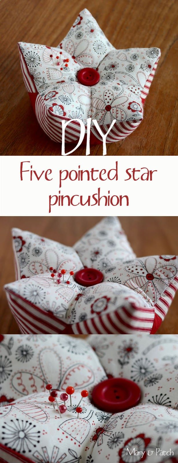 Maryandpatch, 3D patchwork, five pointed star pincushion                                                                                                                                                                                 More
