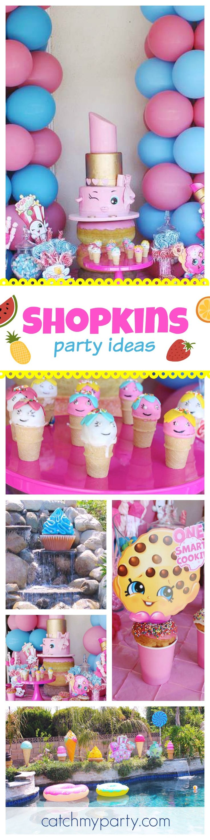This Shopkins pool party is so much fun! The cake and pool decorations are so awesome!! See more party ideas at CatchMyParty.com
