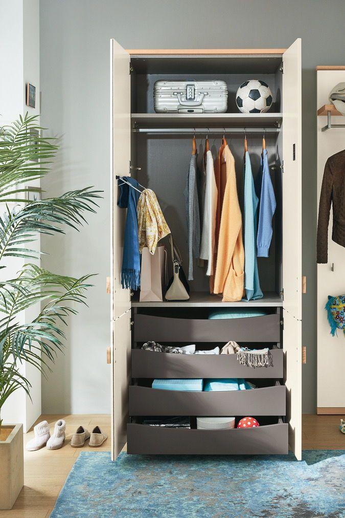 Kleiderschrank Mit Schubladen Und Kleiderstange