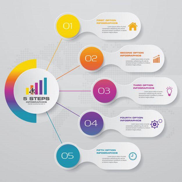 5 steps option banner for presentation