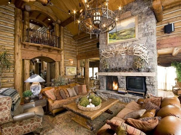 Log Home Living Rooms | Elegant Log Home Bordering Protected Ranch In  Wilson, Wyoming |