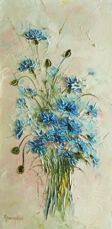 Blue flower palette knife painting. Joanna Domagalska \  Роскошь цветочного букета. Обсуждение на LiveInternet - Российский Сервис Онлайн-Дневников