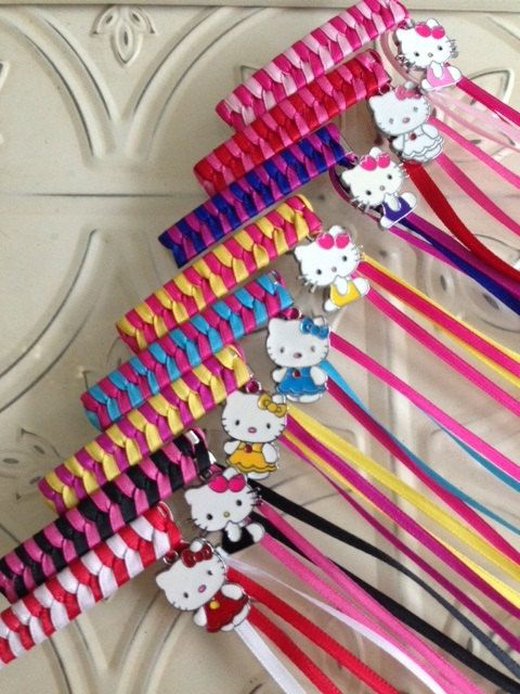 Retro Ribbon Barrette with Cute Kitty Charm by veratidd on Etsy, $3.50