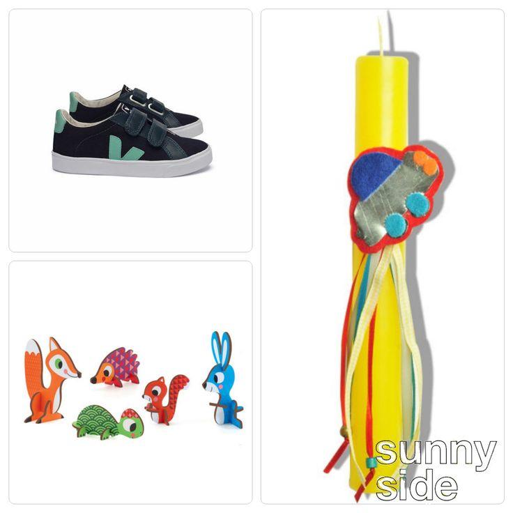 #Easter_Gifts Χαρίστε χρώμα: 1. Veja παπούτσια μπλέ εδώ: http://goo.gl/n1ee8r 2. Χειροποίητη Λαμπάδα με με Αυτοκινητάκι: http://goo.gl/wMi2wU 3. Djeco Τρισδιάστατα Παζλ Ζωάκια: http://goo.gl/HYwqBh #Πάσχα_2015 #WeLoveSunnySide