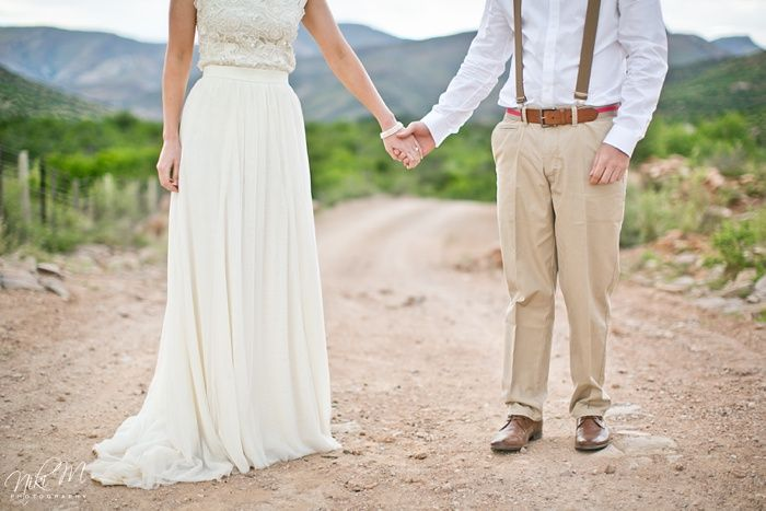Lynne and JR's quirky wedding attire for their Karoo Farm Wedding. Niki M Photography