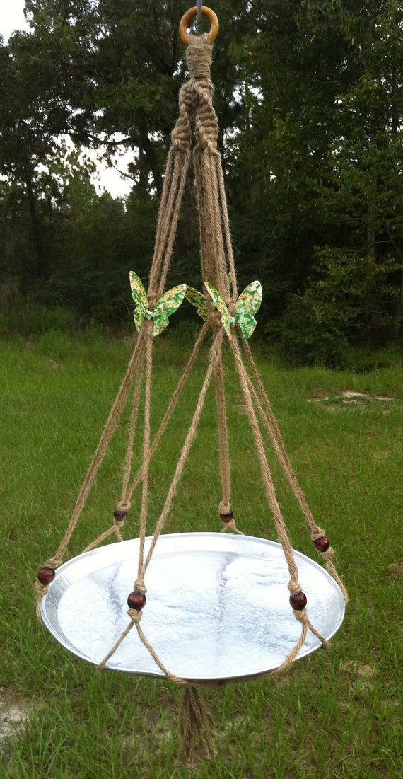 Large Butterfly Trio Jute Macrame Plant Hanger Bird by HobbySue, $40.00