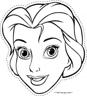 Disney princess cinderella face masks colorin in template