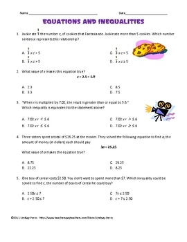 6th Grade Math - Expressions and Equations