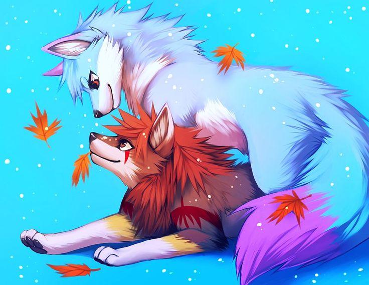 Best 25 anime animals ideas on pinterest anime cat - Anime wolves in love ...