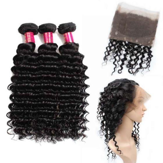 cheap brazilian hair bundles with 360 Frontal mink hair deep wave bundles with frontal